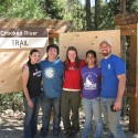 ITA Volunteers show off the new trailhead kiosk they build in  2011.